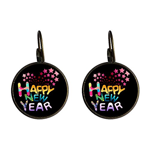 GiftJewelryShop Bronze Retro Style Happy New Year Photo Dangle Leverback Earrings 14mm Diameter