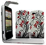 Gr8value HTC One V PU LEATHER MAGNETIC CASE SKIN COVER WALLET POUCH + FREE STYLUS (Red flower White flip case)