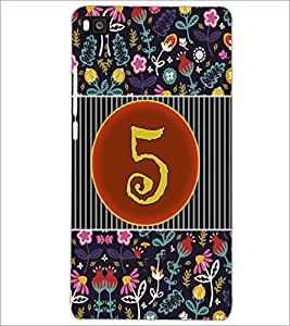 PrintDhaba Numerology Number 5 D-3092 Back Case Cover for HUAWEI P8 (Multi-Coloured)