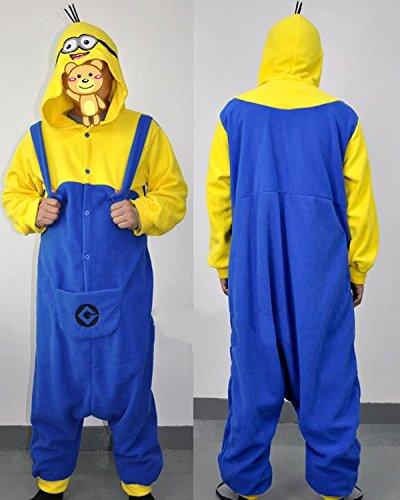 Costume cosplay in pile, unisex, taglia unica, personaggio: Minion di Cattivissimo me, colore: giallo e blu, yellow and blue, M(160-170 CM)