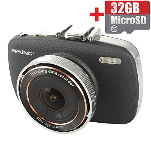 REXING V6 2.7 Inch Screen Full HD 1080P Dash Cam with 32G Micro SD Included, 165 Degree Wide Angle, Superior Quality Night Vision