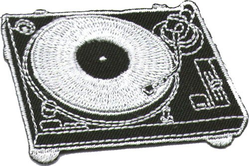 "Aufnäher / Iron on Patch "" DJ Plattenspieler """