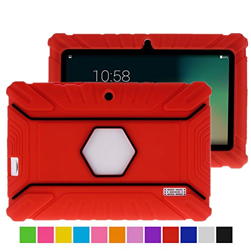 Turpro Kids' Shockproof Silicone Case for Chromo Inc 7 inch, Alldaymall A88X, Dragon Touch Y88X Plus/Y88X, VURU A33, NPOLE 7 Inch Tablet (Red) (7 Inc Tablet Case For Kids compare prices)