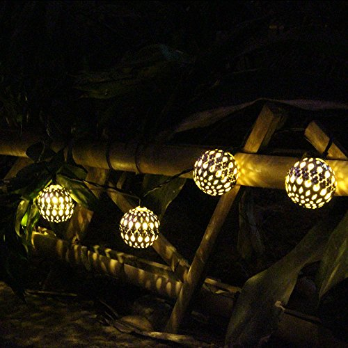 JOJOO Solar Powered 20 LED 16 ft Metal Moroccan String Lights Ornament LED Seasonal Rope Lights for Garden, Wedding, Party, Indoor, Outdoor and Christmas, Warm white LT024