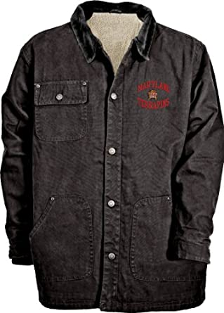 NCAA Mens Maryland Terrapins Durango Brushed Canvas Sherpa Lined Workwear Jacket by Old Varsity