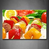 TANDA Modern Canvas Barbecue With Red Yellow Fruit In Rice Wall Art Painting Pictures Print On Canvas Food Picture For Bedroom
