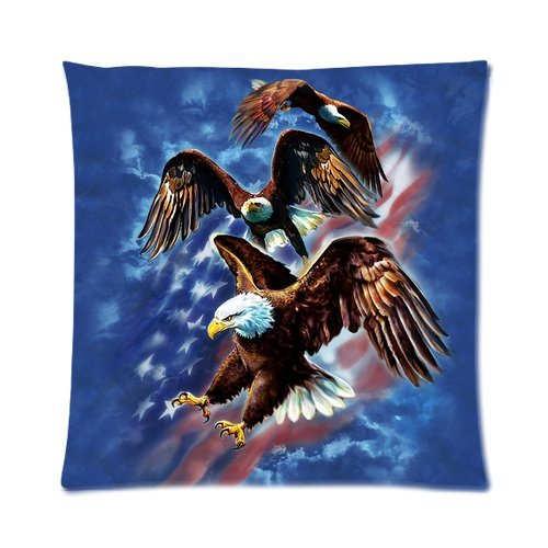 """Usa American Flag Eagle Navy Blue Custom Zippered Pillow Cushion Case Throw Pillow Covers 16""""X16""""(Two Sides) front-1051497"""
