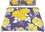 "Kess InHouse Anneline Sophia ""Summer Rose Yellow"" Purple Lavender Queen Cotton Duvet, 88 by 88-Inch"