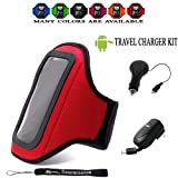 Red Comfy Sport band / Workout Armband Adjustable Neoprene Velcro Strap For Motorola Photon 4G Android Phone + Includes an Anti Glare Screen Protector Guard ( Travel Charger Kit Includes: Home Charger with Foldable Prongs Blades Plus a Retractable Car Charger ) (MANY COLORS AVAILABLE)