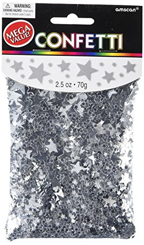 Amscan Metallic Star Confetti, 2.5 oz., Silver