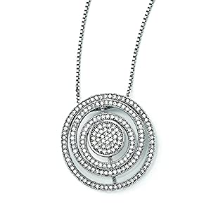 Sterling Silver & Cz Brilliant Embers Polished Circles Necklace