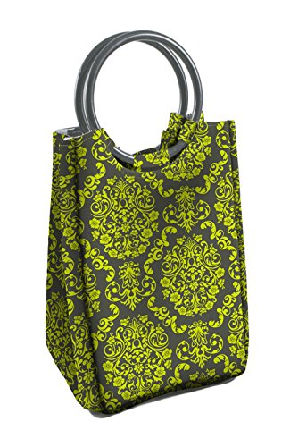 Fit & Fresh Ladies Retro Insulated Lunch Bag with Reusable Ice Pack, Magnetic Snap, Green & Grey Damask