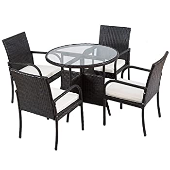 Tangkula 5 PCS Patio Dining Set Outdoor Wicker Rattan Table and Chairs