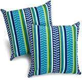 Blazing Needles Indoor/Outdoor Spun Poly 20-Inch by 20-Inch by 6-Inch Throw Pillow, Pike Azure, Set of 2