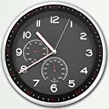 KI Store Quartz Silent Sweep Non-ticking Round Wall Clocks with Temperature and Humidity (14 Inches) Made From Stainless Steel Modern Decorative/ Contemporary Style (Black, Large)