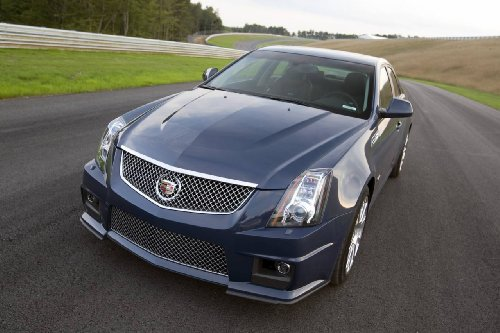 "Cadillac Cts-V (2009) Car Art Poster Print On 10 Mil Archival Satin Paper Black Front Closeup Static View 36""X24"""
