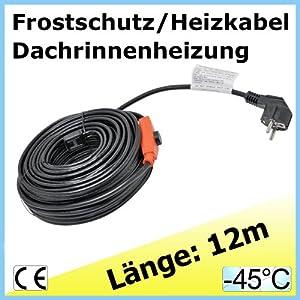 12m EXTRA Frostschutz u Heizkabel Heizleitung Dachrinnenheizung Frostschutzkabel - Frostschutz auch für Pflanzen / Palmen