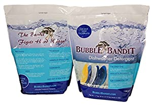 Bubble Bandit Dishwasher Detergent With Natural Phosphates. ALL-IN-ONE. Eliminates limescale buildup, white film and water spots in hard water! Up to 120 Wash Cycles. 2 Pack (7.5 lbs.)