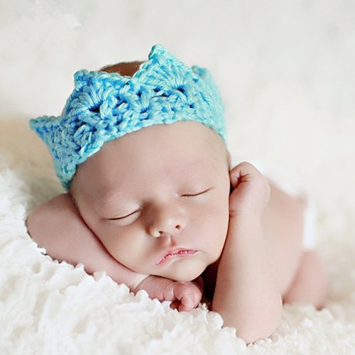 Foxnovo Cute Newborn Infant Baby Girl Boy Handmade Crochet Knit Crown Hat Photograph Prop (New Sky-blue)