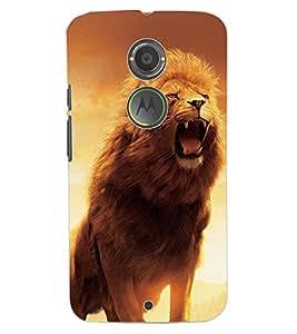 ColourCraft Roaring Lion Design Back Case Cover for MOTOROLA MOTO X2