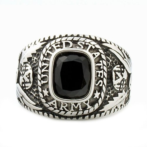 Hood: Mens 5.0Ct Army Siam Black Ice Cz Usa Military Signet Ring, 3153 Sz 10.0, 316 Stainless Steel front-574867
