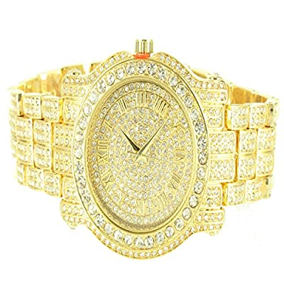 Ice King Yellow Gold Finish Lab Diamond Brick Desgin Men Classy Watch