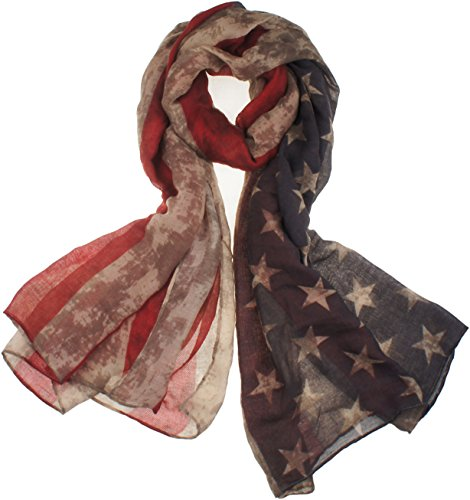 Vivian & Vincent Soft Light Elegant Sheer Long Scarf Shawl (Vintage USA Flag) (Vintage Flag compare prices)