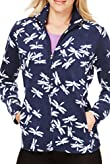 M&S Collection Funnel Neck Dragonfly Print Fleece Jacket [T51-7000-S]