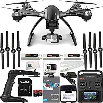 YUNEEC Typhoon G Quadcopter with GB20 Gimbal for GoPro (RTF) & Manufacturer Accessories + 2 Extra 5400mAh Flight Batteries + GoPro HERO4 Silver + SanDisk Extreme PRO 32GB microSDHC Memory Card + MORE