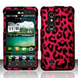 HOT PINK LEOPARD Hard Rubber Feel Plastic Design Case for LG Thrill 4G / Optimus 3D [In Twisted Tech Retail Packaging]