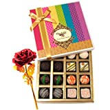 White And Dark Chocolate Box With 24k Red Gold Rose - Chocholik Belgium Chocolates
