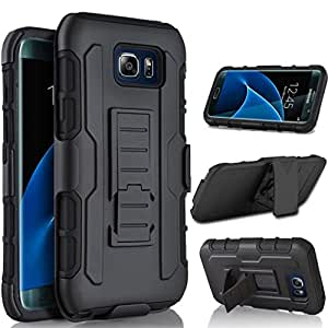 S7 Edge Case, Cellaria Holster SX Series - [Holster Case][Belt Clip][Shockproof][Heavy Duty] Rugged Case Cover With Locking Belt Swivel Clip & Kickstand For Samsung Galaxy S7 Edge, Black