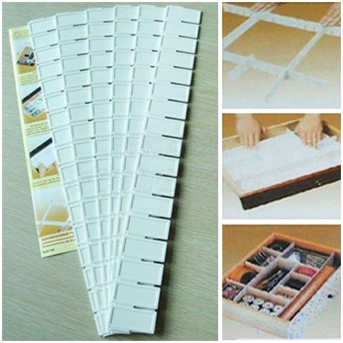Réglable Séparateur de tiroir de rangement organiseur 43cm long 5cm 9cm 12,7cm Profondeur selforganiser, Plastique, blanc, A_5cm_6pcs