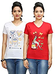 Flexicute Women's Printed V-Neck T-Shirt Combo Pack (Pack of 2)- Red & White Color. Sizes : S-32, M-34, L-36, XL-38