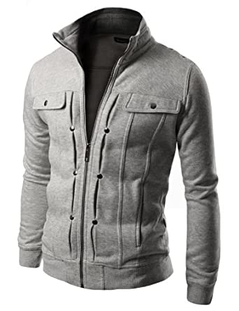 Doublju Mens Highneck Zip Up Jacket GRAY (US-M)
