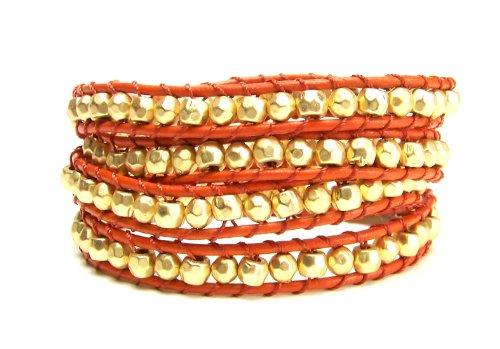 Gold Nugget Orange Leather Multi Wrap Bracelet Chunky Men Women