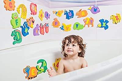 Educational Bath Toys For Toddlers By Baby Loovi - Alphabet 26 Puzzles Letters And Animals For Bath-premium Large Set 52 Items Baby Bath Toys-foam Letters Safe For Kids-guarantee by BABY LOOVI