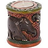Utsav Kraft Wooden Tealight Candle Holder (8 Cm X 8 Cm X 8 Cm, UK166)