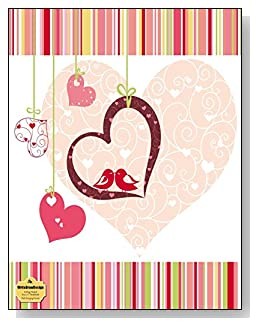 Pink Hanging Hearts Notebook - Hanging hearts and two lovebirds are the main attraction of the dark pink and complementary color theme of the cover of this college ruled notebook.