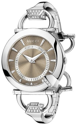 Gucci Women's YA122512 Chiodo Steel Diamond Bangle and Case Brown Dial Watch