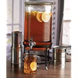 Circleware 68167 Canned Mason Jar Glass Beverage Dispenser with Metal Stand Glassware for Water, Iced Tea Kombucha, Punch and all Cold Drinks, 2 Gallon (Tamaño: 2 Gallon)