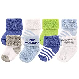 Luvable Friends Baby 8 Pack Newborn Socks, Blue/Mommy, 0-6 Months