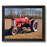 Vintage 1955 Farmall 400 Farm Tractor Home Decor Wall Picture Black Framed Art Print