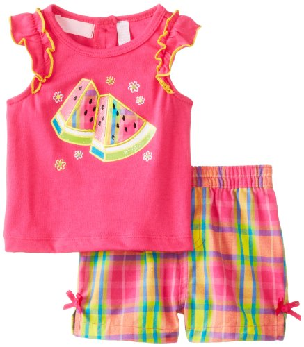 Kids Headquarters Baby-Girls Newborn Top With Plaided Shorts Watermelon, Pink, 3-6 Months front-741328