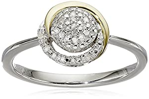 S&G Sterling Silver and 14k Yellow Gold Diamond Circle Framed Ring, Size 7