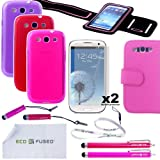 Samsung Galaxy S3 Fitness Accessory Bundle / Three TPU Cases (Purple, Red, Hot Pink) / Pink Leather Wallet Case / Sport Armband (Black w/ Pink Trim) / Four Stylus Pens (Red, Pink) / Two Screen Protectors and an ECO-FUSED Lanyard and Microfiber Cleaning Cloth Included - AT&T (SGH-i747), US Cellular, T-Mobile (SGH-T999), and International (GT-i9300) (Purple Red Hot-Pink)