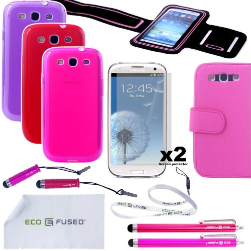 Samsung Galaxy S3 Fitness Accessory Bundle / Three TPU Cases (Purple, Red, Hot Pink) / Pink Leather Wallet Case / Sport Armband (Black w/ Pink Trim) / Four Stylus Pens (Red, Pink) / Two Screen Protectors and Free ECO-FUSED® Lanyard and Microfiber Cleaning Cloth Included - AT&T (SGH-i747), US Cellular, T-Mobile (SGH-T999), and International (GT-i9300) (Purple Red Hot-Pink)