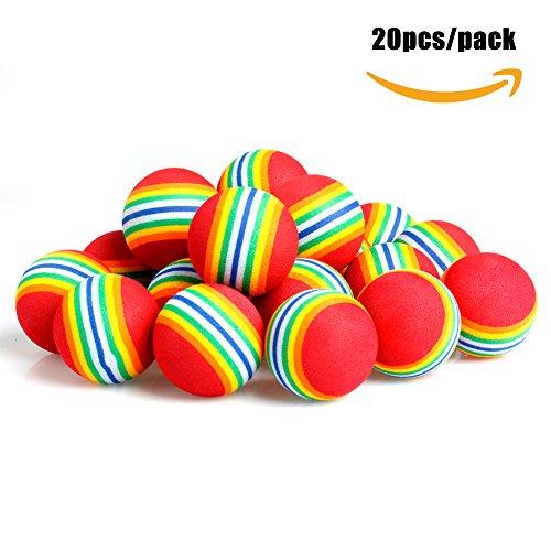 Delight eShop Practice Golf Balls, 20pcs, Foam, Rainbow Color, for indoor/outdoor Golf Practice