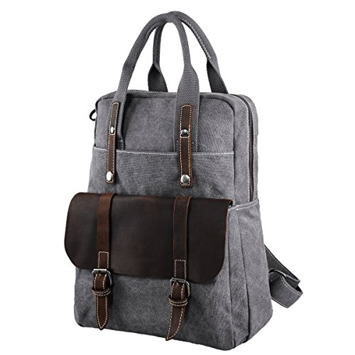 Back-to-School Sale- 42% OFF- S-ZONE Canvas Genuine Leather Travel School Bags 15.6-inch Laptop Backpack Rucksack