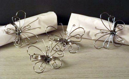 Set Of 4 Wire Butterfly Napkin Rings by marymarygardens
